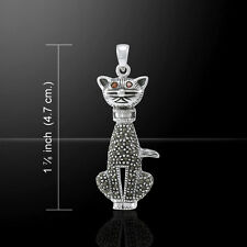 Cat .925 Sterling Silver Garnet Marcasite Pendant by Peter Stone