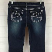 Lee girls sz 16 stretch blue faded dark wash flap pocket skinny bootcut jean LNC