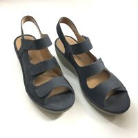 Clarks Women's 11M Reedly Juno Strappy Wedge Sandal Navy Blue Soft Leather Upper