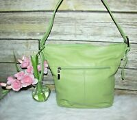 Stone & Co. Green Pebbled Leather Purse Shoulder Bag Tote Hobo