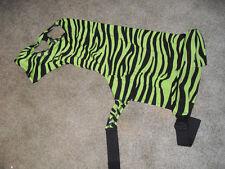 New Neon Green Zebra Lycra Mane Stay Hood W/ Zipper, Size Large Mini, Tough 1