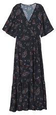 H&M Women's Short Sleeve Wrap Dress, Black/Floral - Size 22