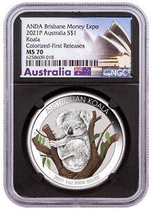 2021 P Australia 1 oz Silver Brisbane Show Colorized Koala NGC MS70 FR BC Opera