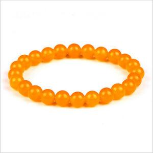 8MM Man Fashion Solid Simple Bracelet Tiger's Eye Beaded Stretch Bracelets Gift