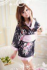 Costume Completino Kimono Giapponese Cosplay Molto Sexy Japanese Rosa Pink Fiori