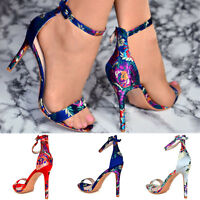 Ladies Satin Mid High Heel Sandals Women Ankle Strap Peep Toe Floral Party Shoes
