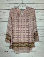 En Creme Anthropologie Women's S Small Boho Long Sleeve Spring Top Tunic Blouse