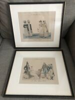 "Pair Of Vintage Framed French Color Engravings Series ""Le Bon Genre"" #13, 112"