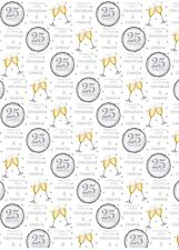Personalised silver 25th  Anniversary Wrapping Paper.