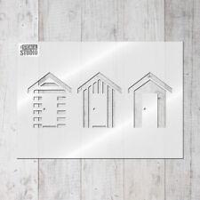 Beach Huts Reusable Wall STENCIL seaside bathroom stencils for home decor 10015