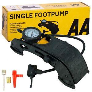 AA Heavy Duty Foot Pump Single Barrel Cylinder Car Van Bike Tyre Air Inflator