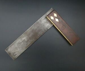 """Quality Antique/Vintage Buck & Hickman 9"""" Rosewood  Brass Try Square"""
