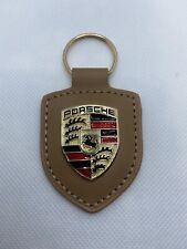 Porte clés Porsche cuir Beige  Neuf ENVOIE SUIVIE FRANCE 🇫🇷