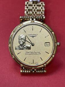 RARE Gold Plated LONGINES President Saddam Hussein Iraq GOLD DIAL Watch MEN R3