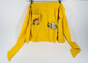 VTG 50s Sue Sets NY Canary Yellow Jams & Jelly Jars Pocket Half Skirt Apron