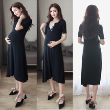 Slim Dress Nursing Breastfeeding Long Tunic Mid-Calf Elegant Comfy M/L/XL/2XL