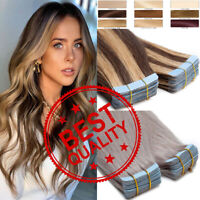 100% Human Remy Hair Extensions 60PCS Thick Tape in Skin Weft Full Head Ombre US