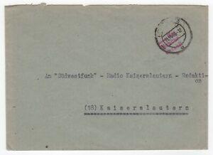 1946 Oct 31st. Cover. Mainz University to Südwestrundfunk, Radio Kaiserslautern.