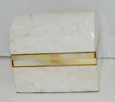 Soapstone Jewelry Box by Renoir Designs Mother of Pearl Hand Crafted