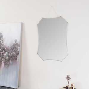 Deco Frameless Bevelled Wall Mirror vintage ornate curved decorative shabby chic