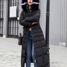 Winter Women Warm Furry Hooded Long Slim Down Jacket Coat Faux Fur Collar M-3XL