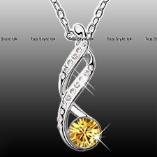 Citrine & Silver Necklace Gifts for Her Women Girl Lady Mother Wife Nanny J246D