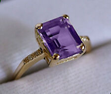 R226 Genuine 9K Solid Yellow GOLD NATURAL Purple Amethyst & Diamond Ring size M