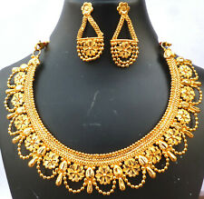 South Indian Wedding 22K Gold Plated Necklace earrings Jewelry SETAbC