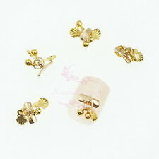 10pcs Nail Art Tips Decorations Dangle Style Shell Alloy Charms Gold Tone Summer