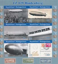 More details for madagascar 2021 mnh aviation stamps lz 129 hindenburg zeppelins 6v impf m/s