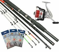 Sea Fishing Boat Beach 3pc 6/8ft Rod 3pc Tips + Sea Reel and 3x Packs Feathers