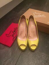 Christian Louboutin Peep Toe Patent Yellow Platform  Heels Size Uk 4.5 Eu 37.5