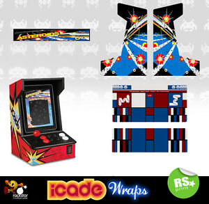 Icade Asteroids Full Set Arcade Artwork Graphics Sticker /Sides Marquee & Panels