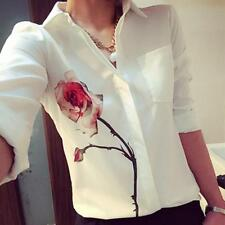 Elegant Women Long Sleeve Blouse Rose Flower Turn Down Collar Chiffon Shirts Top