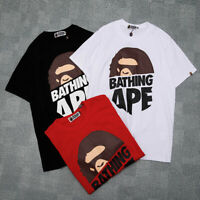 Lovers Bape A Bathing Ape Mens T-shirt  Monkey Head Casual Short Sleeve Tee New