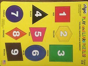 "4-Sets of 3  Puzzles,""Alphabet & Colors"",""U.S. Map"", & ""Colors,Shapes & Numbers"""
