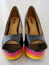 """Unlisted"" Black & Rainbow Patent Leather Open Toe Platform Heel Size 7M"
