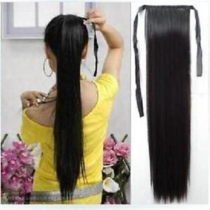 Long Thick Clip In As Human Hair Extensions Pony Tail Wrap On Ponytail DP