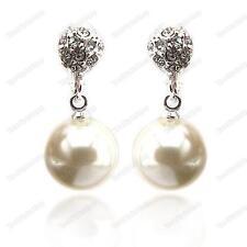 Clip en non-pierced pearl&crystal pendientes Grande Crema Perlas Imitación Clips