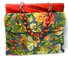 Vintage Kadin Carpet Handbag cut velvet flowers Lucite Chainlink handle