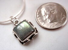 Labradorite Square Necklace Rope Style Border Earth Colors 925 Sterling Silver