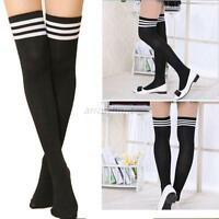 Chic Women Ladies Over The Knee Socks Plain Striped High Thigh Long Stripe Socks