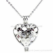 K401 Silver Alloy Pearl Cage 33mm Flowers Heart Stainless Steel Wedding Necklace