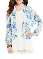 Nwt IC Collection By Connie K Blue & White Tie Dye Asymmetrical Open Jacket