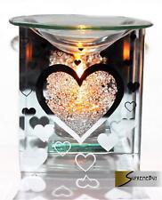 Glass Heart Fragrance Oil Burner Yankee Candle Wax Tart Warmer Tealight Holder