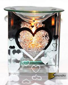 Glass Heart Fragrance Oil Burner Yankee Candle Wax Tart Warmer Tealight Holder