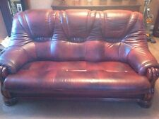 LEATHER ITALIAN Solid Wood Brown Double Settee & Chair