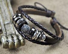 U07 Surfer Cool Leather Hemp Braided Bracelet Wristband Cuff Metal Shield Brown