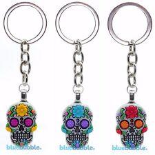 Bluebubble DIA DE LOS MUERTOS Sugar Skull Goth Keyring Day Of The Dead Skeleton