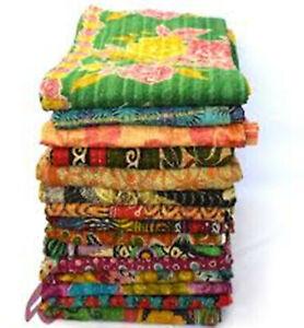 Handmade Cotton Vintage Kantha Throw Indian Quilt Patchwork Handstiched